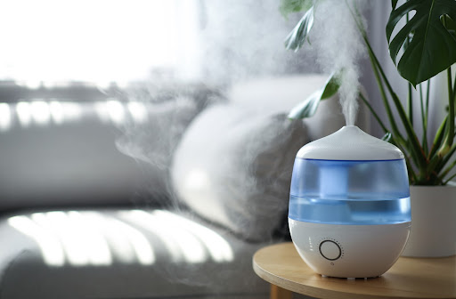 Humidifier in living room of house to add moisture to atmosphere.